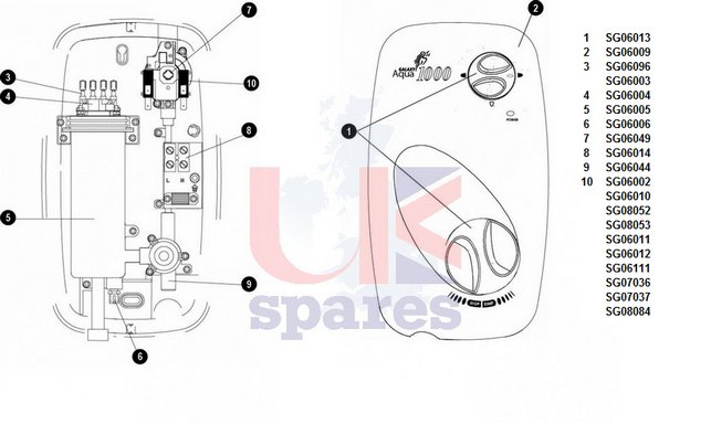 Galaxy Aqua 1000 Shower Schematic Drawing
