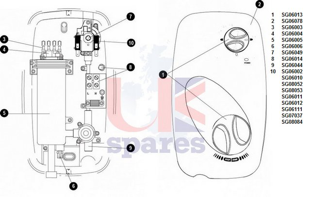 Galaxy Aura LX100 Shower Schematic Drawing