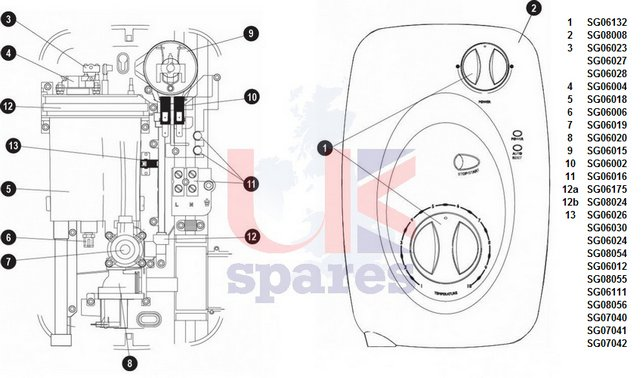 Galaxy Designa DS3000 Shower Schematic Drawing