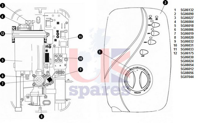 Galaxy Designa DS4000 Shower Schematic Drawing