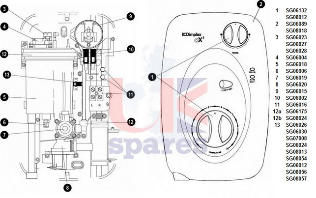 Galaxy Dimplex AX3 Shower Schematic Drawing