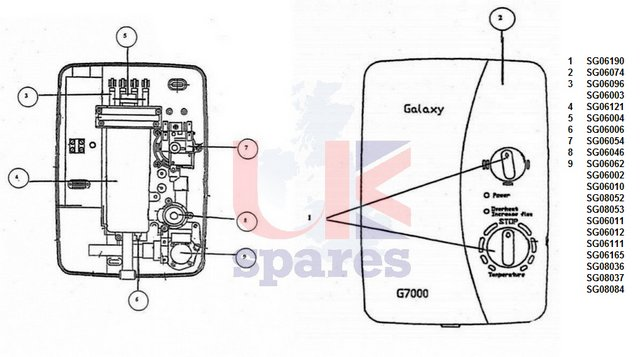 Galaxy G7000 Shower Schematic Drawing