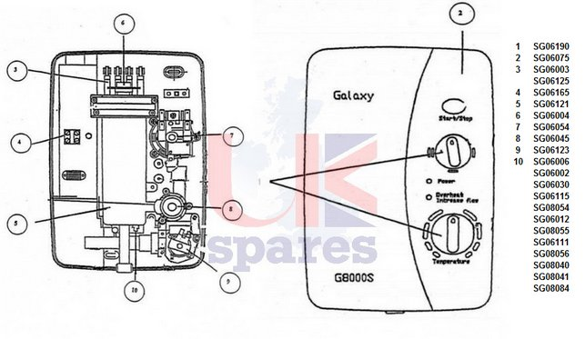 Galaxy G8000S Shower Schematic Drawing