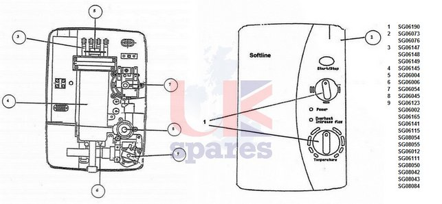 Galaxy Softline SL80 & SL90 Shower Schematic Drawing