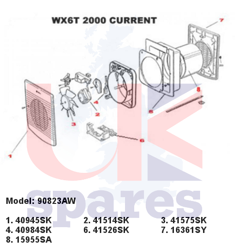 Xpelair 90823aw Wx6t Extractor Fan 2000 Current Spares
