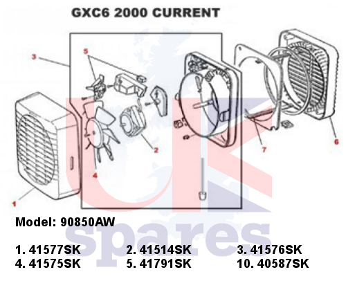 Xpelair 90850AW GXC6 Extractor Fan (2000 - Current) Spares on